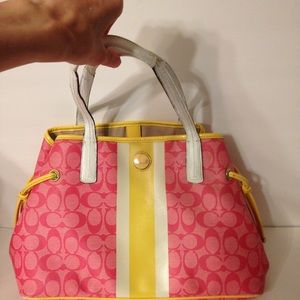 Coach pink sig c legacy striped yellow white tote